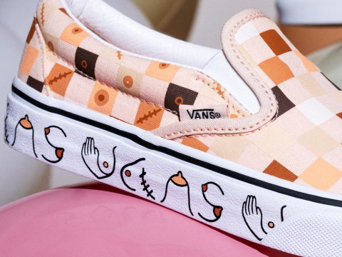 Get yourself Vans with boobs and nipples for Breast Cancer Awareness Month