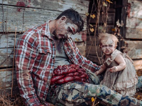 Gory daddy daughter zombie photoshoot wins Halloween