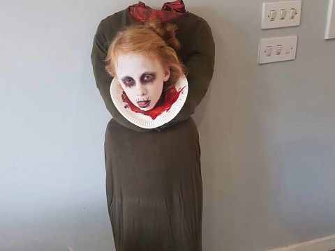 Mum comes up with brilliant headless ghost Halloween costume which cost nothing