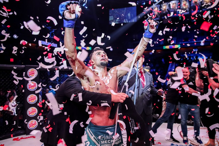 Douglas Lima is showered in confetti after he beats Rory MacDonald