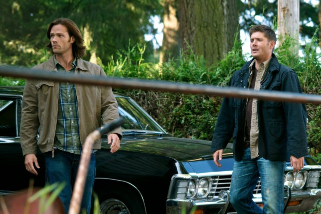 """Television programme: Supernatural - Series 08. Episode 01 """"We Need to talk about Kevin"""". Jared Padalecki as Sam Winchester and Jensen Ackles as Dean Winchester.. Warner Bros. Entertainment, Inc. 2013.."""