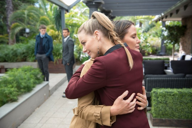 Chloe and Elly hug in Neighbours
