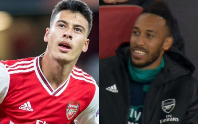 Gabriel Martinelli scored twice for Arsenal as Pierre-Emerick Aubameyang watched on