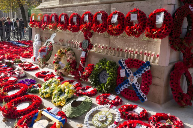 poppy wreaths on a war memorian for Remembrance Sunday