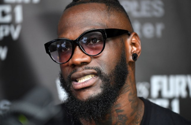SANTA MONICA, CALIFORNIA - NOVEMBER 05: WBC Heavyweight Champion Deontay Wilder talks to the media before starting his workout at Churchill Boxing Club on November 05, 2018 in Santa Monica, California. (Photo by Jayne Kamin-Oncea/Getty Images)
