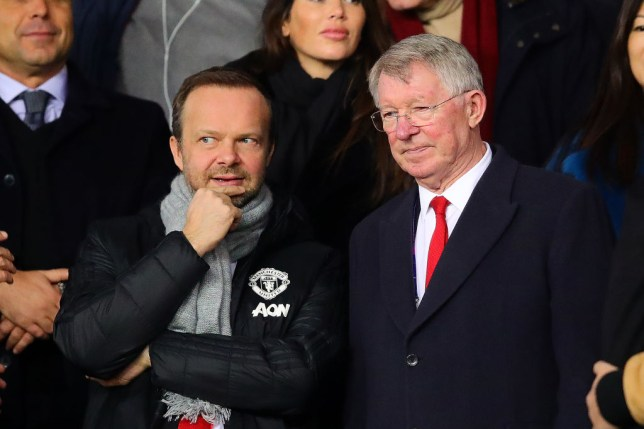 PARIS, FRANCE - MARCH 06: Sir Alex Ferguson next to Manchester United chief-executive Ed Woodward ahead of the UEFA Champions League Round of 16 Second Leg match between Paris Saint-Germain and Manchester United at Parc des Princes on March 06, 2019 in Paris, France. (Photo by Chris Brunskill/Fantasista/Getty Images)
