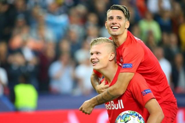 Erling Haaland and Dominik Szoboszlai celebrate during Red Bull Salzburg's win against Genk
