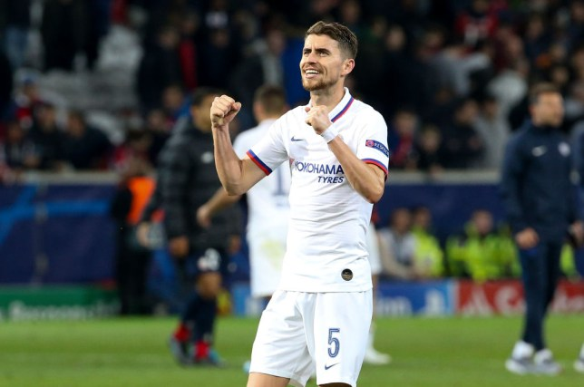 Jorginho celebrates after Chelsea's 2-1 victory over Lille in the Champions League