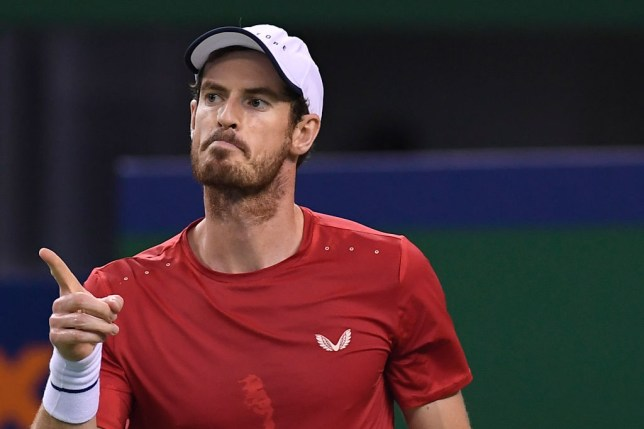 Andy Murray points his finger during a Shanghai Masters win over Juan Ignacio Londero