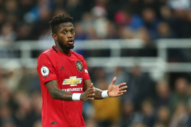 Fred gestures to his Manchester United team-mates