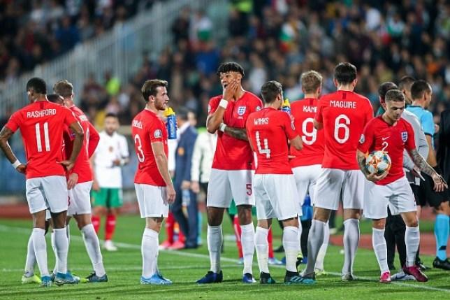 England players in Bulgaria
