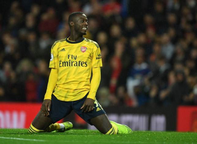 MANCHESTER, ENGLAND - SEPTEMBER 30: Nicolas Pepe of Arsenal during the Premier League match between Manchester United and Arsenal FC at Old Trafford on September 30, 2019 in Manchester, United Kingdom. (Photo by Stuart MacFarlane/Arsenal FC via Getty Images)