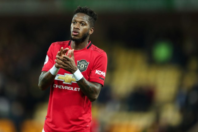 Fred applauds Manchester United's supporters after the win against Norwich City