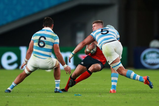 Owen Farrell was tackled high by Tomas Lavanini to earn a red card