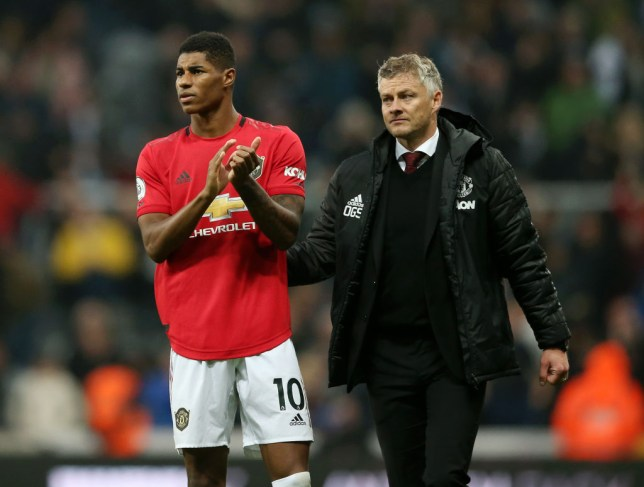 NEWCASTLE UPON TYNE, ENGLAND - OCTOBER 06: Marcus Rashford of Manchester United applauds fans after his sides defeat in the Premier League match between Newcastle United and Manchester United at St. James Park on October 06, 2019 in Newcastle upon Tyne, United Kingdom. (Photo by Jan Kruger/Getty Images)