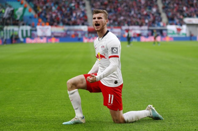 LEIPZIG, GERMANY - OCTOBER 19: Timo Werner of RB Leipzig celebrates after scoring his team's first goal during the Bundesliga match between RB Leipzig and VfL Wolfsburg at Red Bull Arena on October 19, 2019 in Leipzig, Germany. (Photo by Maja Hitij/Bongarts/Getty Images)