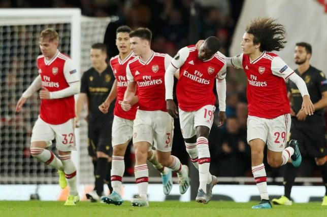 Nicolas Pepe celebrates a memorable equaliser for Arsenal