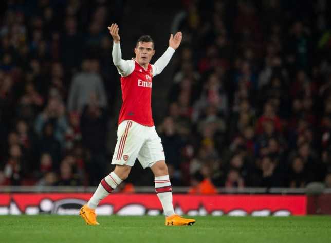 Granit Xhaka taunts Arsenal fans during the 2-2 draw with Crystal Palace