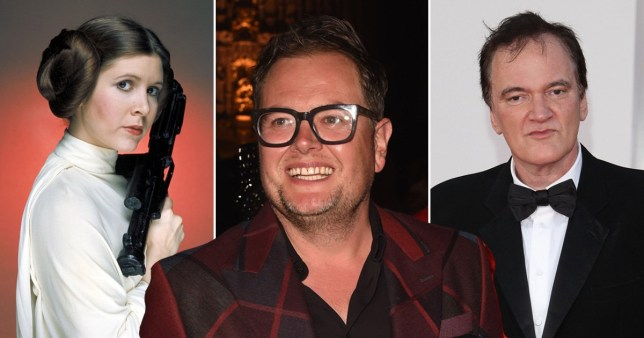 Alan Carr with Carrie Fisher and Quentin Tarantino
