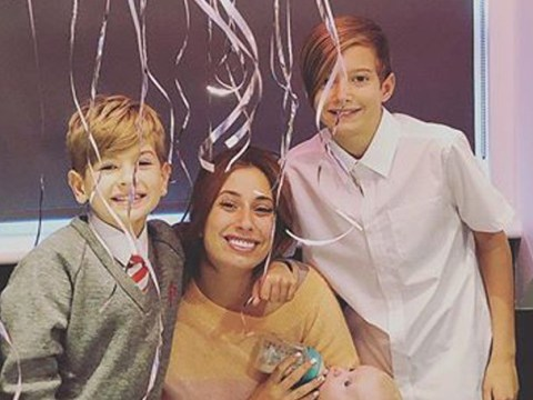 Stacey Solomon's sons celebrate her 30th birthday as she feeds baby Rex on the toilet