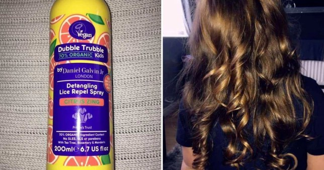 Picture of a head lice spray next to a picture of a young girl's hair