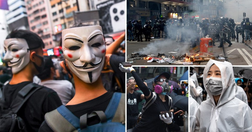 Hong Kong face mask-wearing protesters