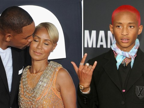 Will Smith sweetly plants kiss on Jada as they're joined by pink-haired Jaden on red carpet