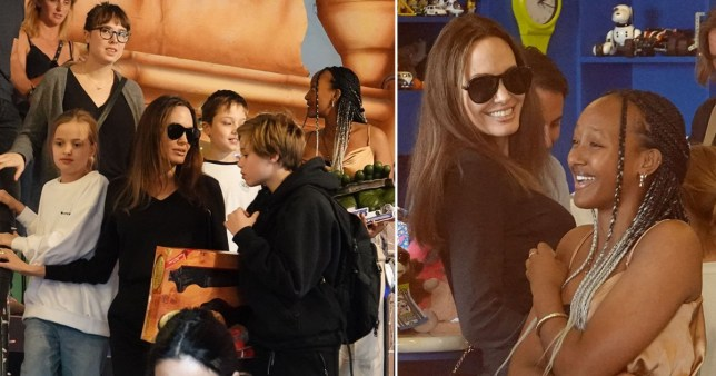 Angelina Jolie takes her kids shopping in Rome