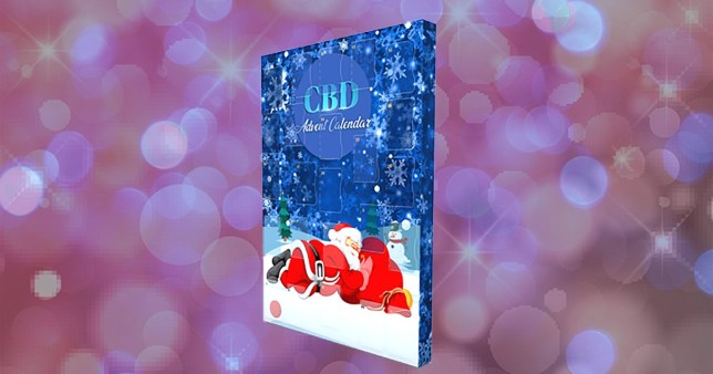 CBD chocolate advent calendar on a colourful background