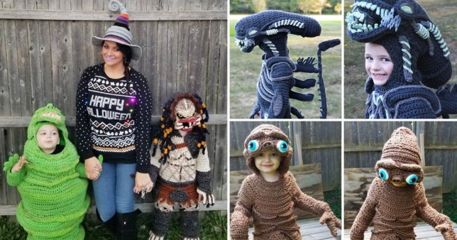 Halloween outfits crocheted by mum