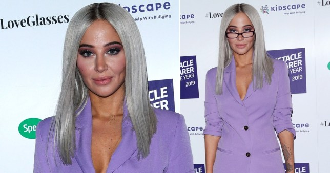 Tulisa rocks a daring purple power suit as she parties with Love Island couple Maura Higgins and Curtis Pritchard