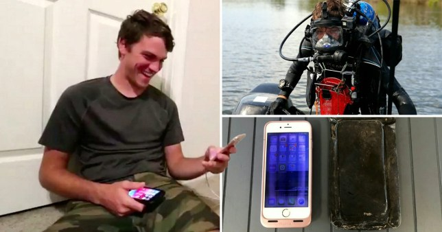 Michael Bennett, left, found the iPhone under a rock while scuba diving  (Picture: SWNS)
