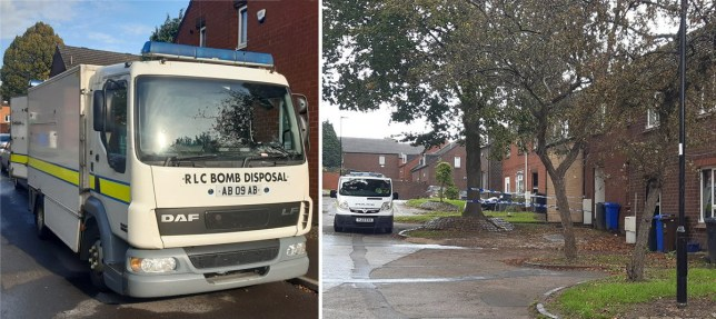 Two pictures of police cordon and bomb squad after a 'suspicious item' was found in a neighbourhood in Sheffield, south Yorkshire