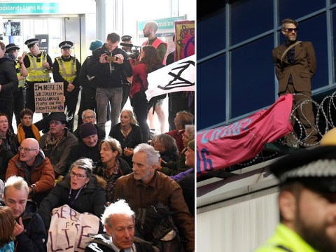 Protester climbs on to roof of London City Airport as Extinction Rebellion plan day of chaos
