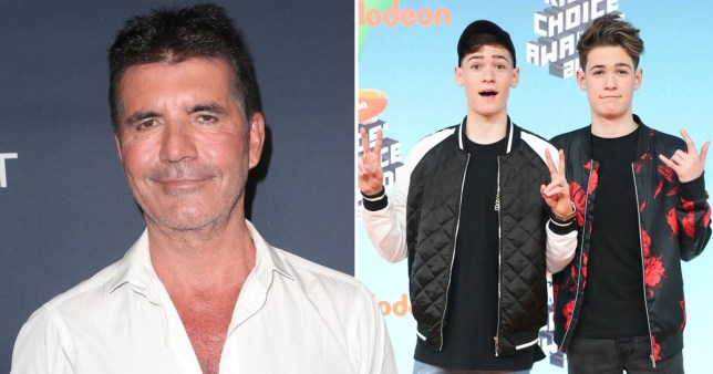 Simon Cowell and Max and Harvey on X Factor: Celebrity
