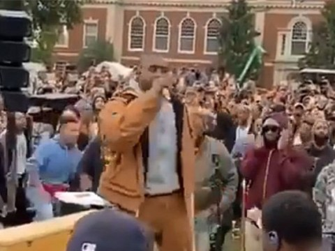 Kanye West raps '13th Amendment, gotta end it' as he takes church service to Howard University