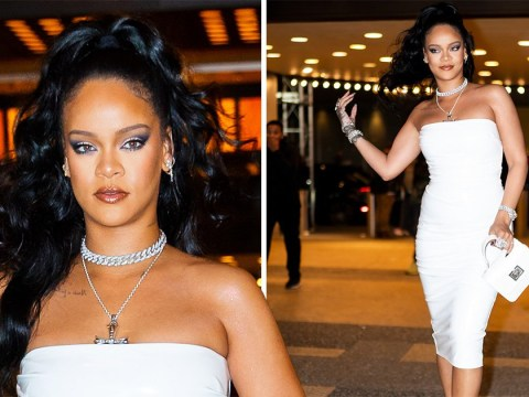 Rihanna proves she's an unbeatable fashion icon in white strapless bodycon dress