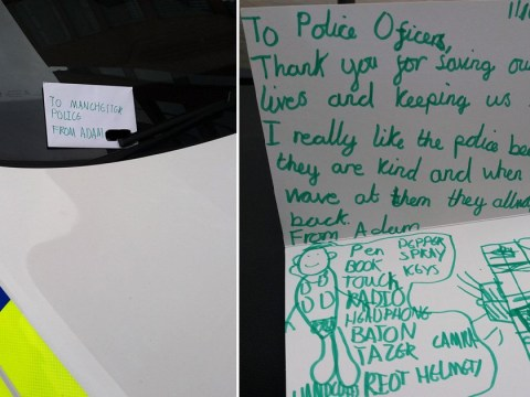 Boy writes sweet thank you note to police who 'always wave to him'