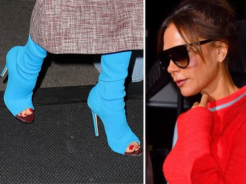 Victoria Beckham is braver than us as she somehow rocks bright blue open-toe boots on New York trip