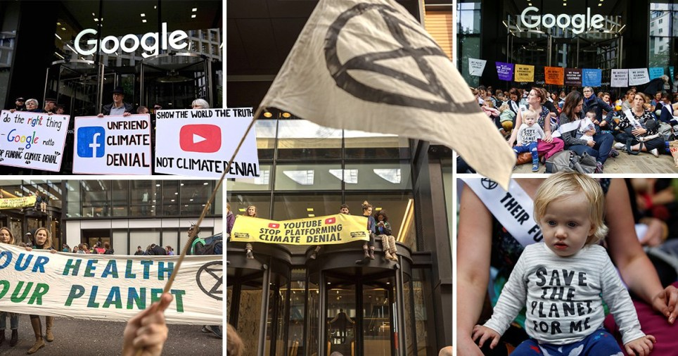 Compilation of Extinction Rebellion at Google and Youtube offices in London