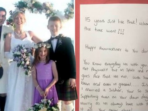 Son sends mum wedding anniversary card from her husband who died 14 years ago