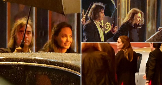 Angelina Jolie not bothered by the rain as she heads out for dinner with godmother Jacqueline Bisset
