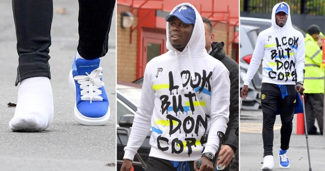 Paul Pogba shows off toe injury as he arrives at Old Trafford with crutch and huge bandage