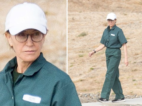 Felicity Huffman pictured in prison jumpsuit as she serves 14-day sentence for college admission scandal