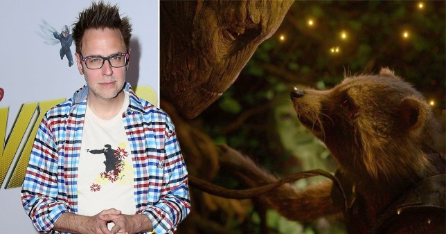 James Gunn and a still from Guardians Of The Galaxy