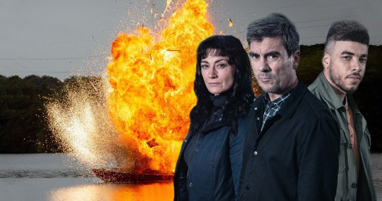 Emmerdale Cain, Moira and Nate in boat explosion