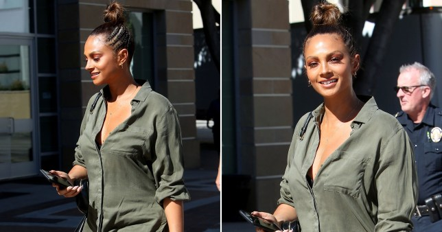 New mum Alesha Dixon slays smart casual as she arrives for America's Got Talent: The Champions filming