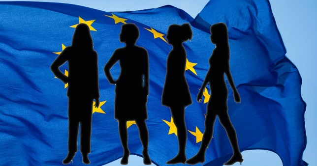Silhouettes of women in front of EU flag