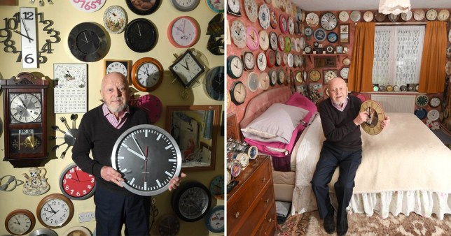 Two pictures of clock collector Roy West showing off his clocks at his home in Chandler's Ford, Hampshire