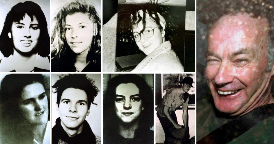 Picture of laughing serial killer Ivan Milat next to pictures of his seven victims - left to right: Deborah Everest, Anja Habschied, Simone Schmidl, Joanne Walters, Gabor Neugebauer, Caroline Clarke and James Gibson
